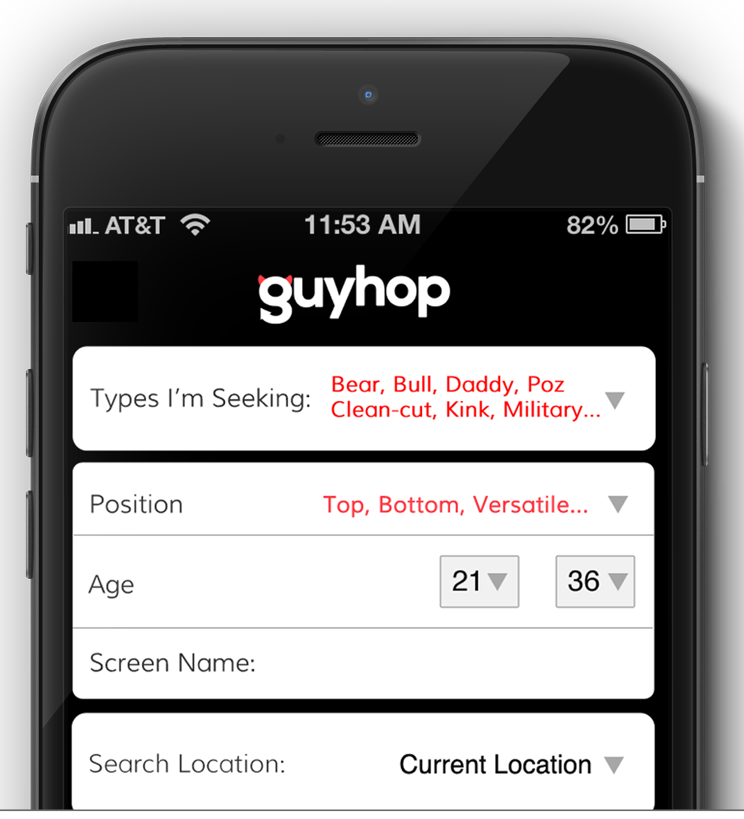 Guyhop Search Screen